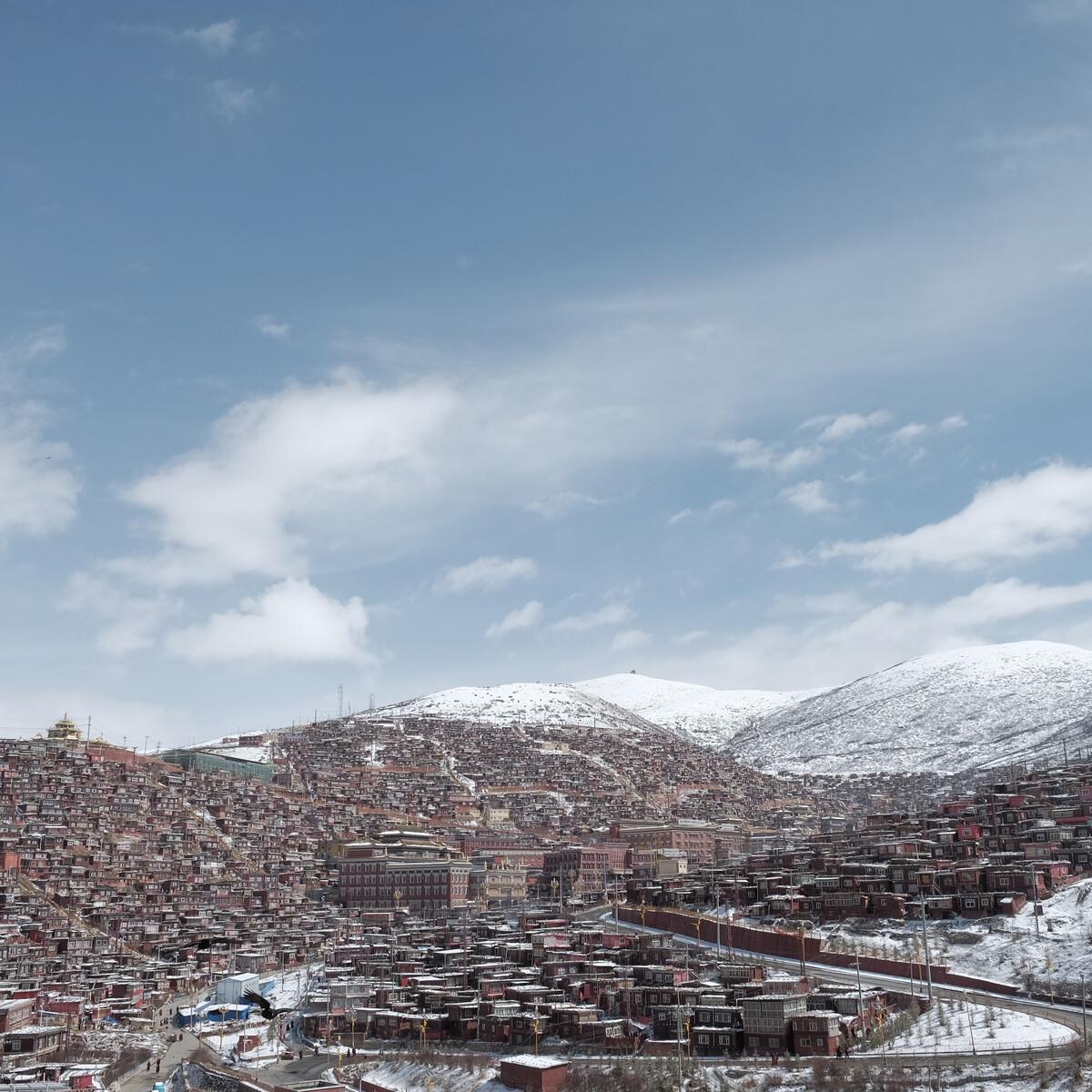 喇荣山谷今日雪景